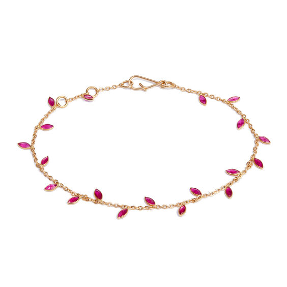 18ct Gold Ruby Vine Leaf Bracelet | Annoushka jewelley