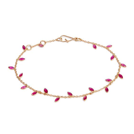 18ct Gold Ruby Vine Leaf Bracelet | Annoushka jewelley