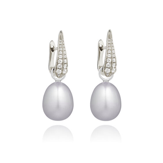 18ct White Gold Diamond Grey Pearl Earrings