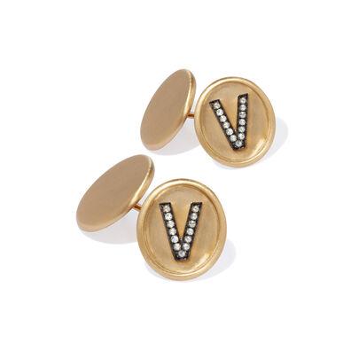 18ct Satin Gold Diamond Initial V Cufflinks