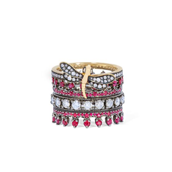18ct Gold Dragonfly Ruby Ring Stack | Annoushka jewelley