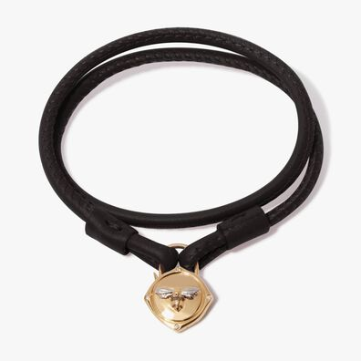 Lovelock 18ct Gold 35cms Black Leather Bee Charm Bracelet