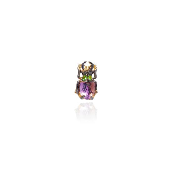 Mythology 18ct Gold Amethyst Beetle Single Stud | Annoushka jewelley
