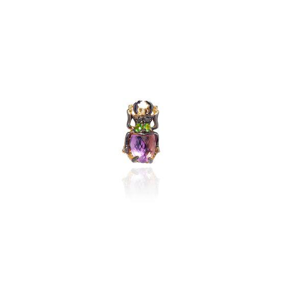 Mythology 18ct Gold Amethyst Beetle Single Stud | Annoushka jewelley