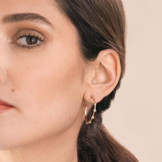 Dream Catcher 18ct Rose Gold Diamond Hoop Earrings