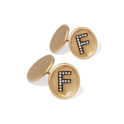 18ct Satin Gold Diamond Initial F Cufflinks
