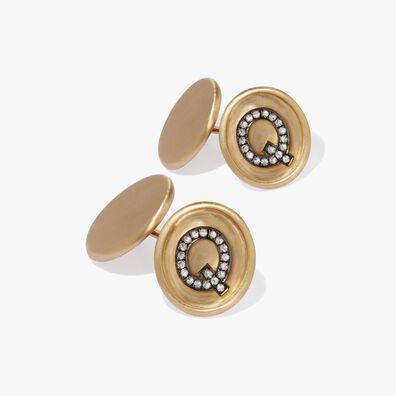 18ct Satin Gold Diamond Initial Q Cufflinks