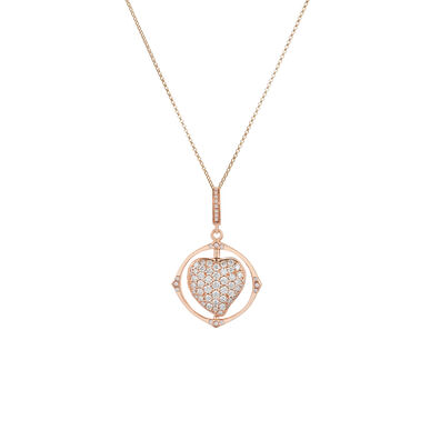 Mythology 18ct Rose Gold Spinning Heart Necklace