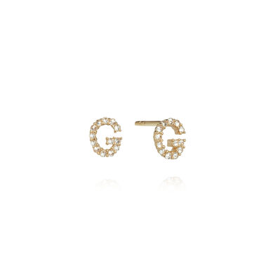 A pair of 18ct Gold Diamond Initial G Stud Earrings