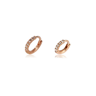 Dusty Diamonds 18ct Rose Gold Diamond 7.5mm & 10mm Hoops