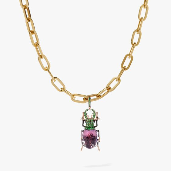 18ct Gold Cable Chain Amethyst Beetle Necklace