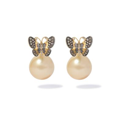 18ct Gold South Sea Pearl Butterfly Earrings