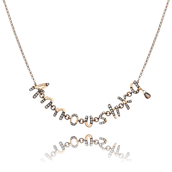 Personalised Rose Gold Chain Letters Necklace | Annoushka jewelley
