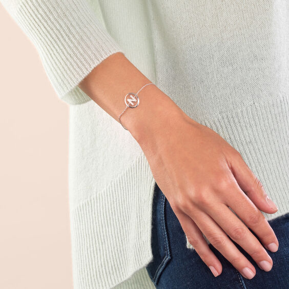 18ct White Gold Diamond Initial N Bracelet | Annoushka jewelley