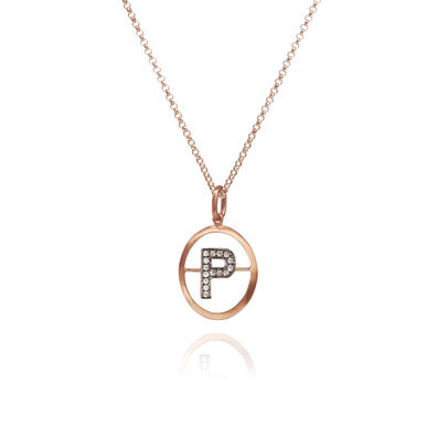 18ct Rose Gold Initial P Necklace