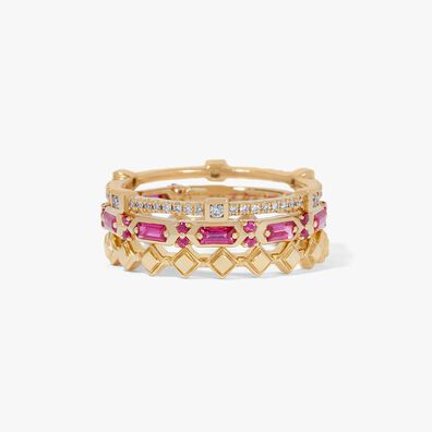 18ct Gold Pink Sapphire Baguette Ring Stack