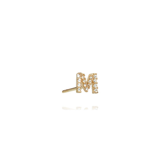 18ct Gold Diamond Initial M Single Stud Earring