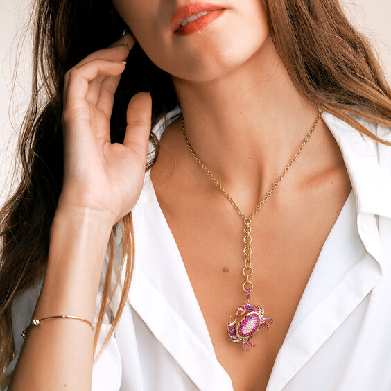 Mythology 18ct Rose Gold Pink Sapphire Crab Locket