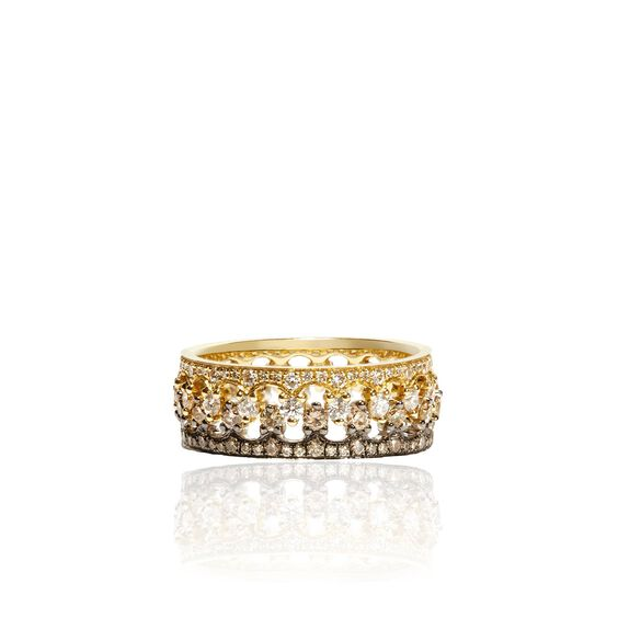 Crown Interlaced Diamond Ring Stack in 18ct Mixed Golds | Annoushka jewelley
