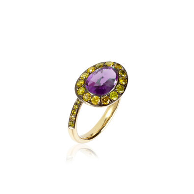 Dusty Diamonds 18ct Gold Amethyst Yellow Diamond Ring