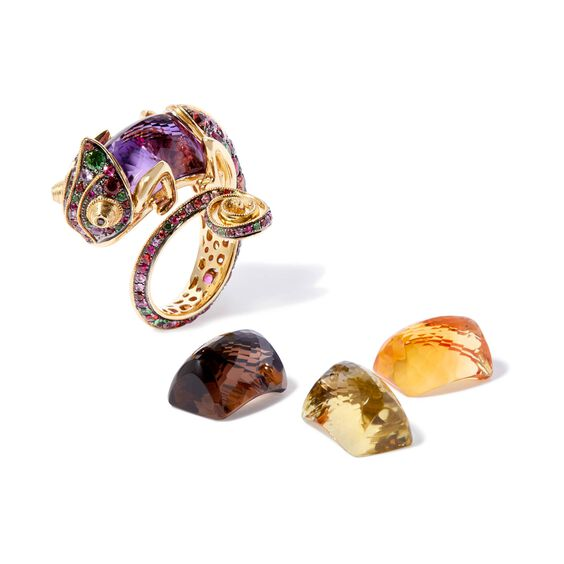 18ct Gold Interchangeable Sapphire Chameleon Ring | Annoushka jewelley