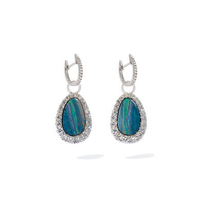 Unique 18ct White Gold Opal Diamond Earrings