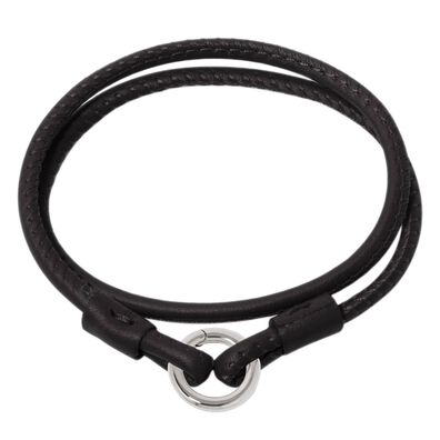 14ct White Gold Lovelink 35cms Black Leather Bracelet