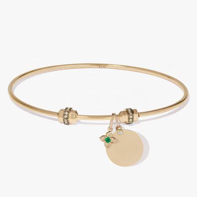 Mythology 18ct Yellow Gold Emerald Tokens Charm Bangle