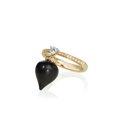 Touch Wood 18ct Gold Diamond Ebony Ring
