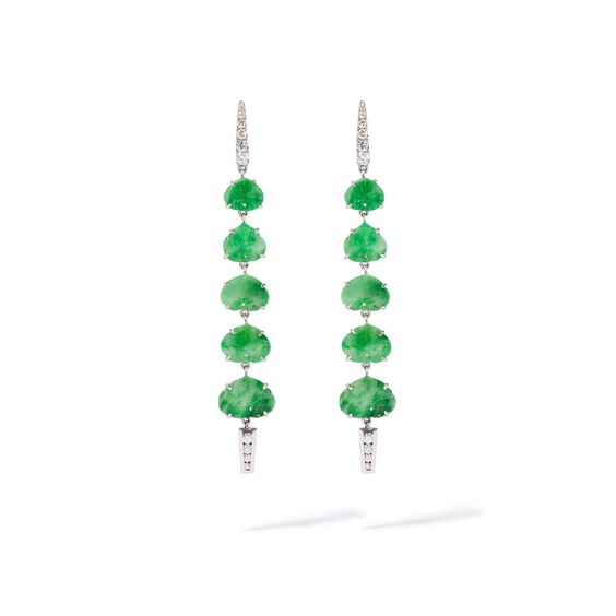 Unique 18ct White Gold Large Jade Drop Earrings | Annoushka jewelley
