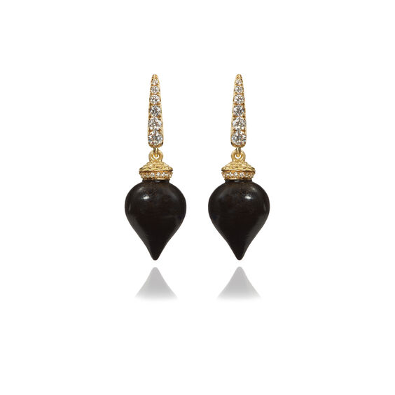 Touch Wood 18ct Gold Small Ebony Earrings | Annoushka jewelley