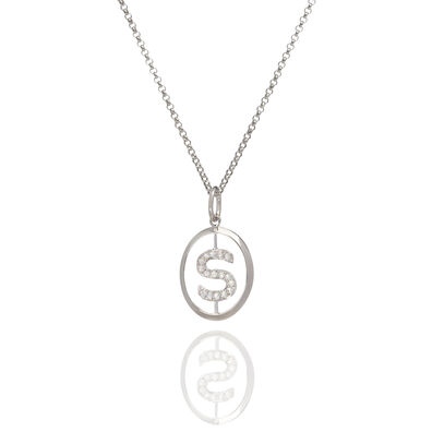 18ct White Gold Diamond Initial S Necklace