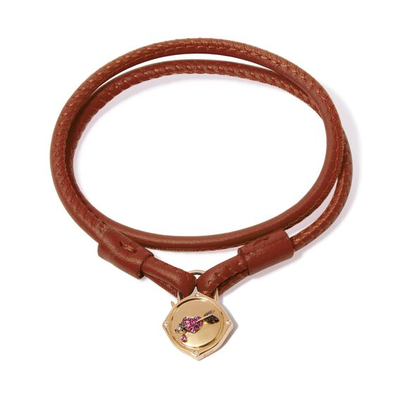 Lovelock 18ct Gold 41cms Brown Leather Heart & Arrow Charm Bracelet | Annoushka jewelley