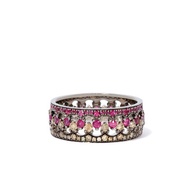 Crown Interlaced Ruby Ring Stack in 18ct Mixed Golds