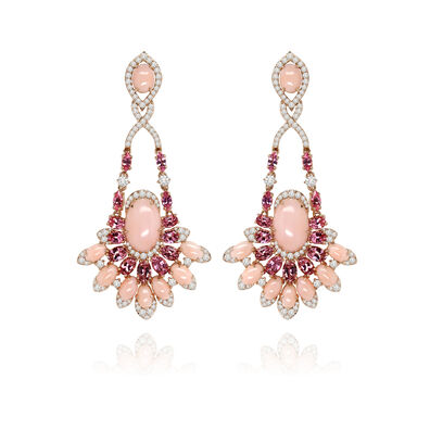 Sutra Pink Opal Diamond Earrings