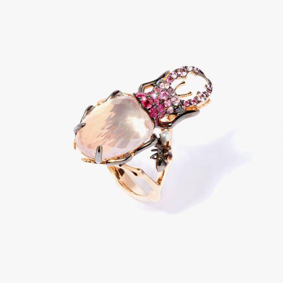 Mythology 18ct Rose Gold Rose Quartz Beetle Ring   Annoushka jewelley