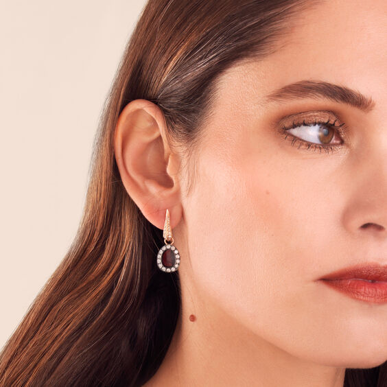 Dusty Diamonds 18ct Rose Gold Rhodolite Garnet Earring Drops | Annoushka jewelley