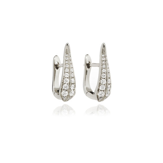 18ct White Gold Diamond Hoop Earrings | Annoushka jewelley