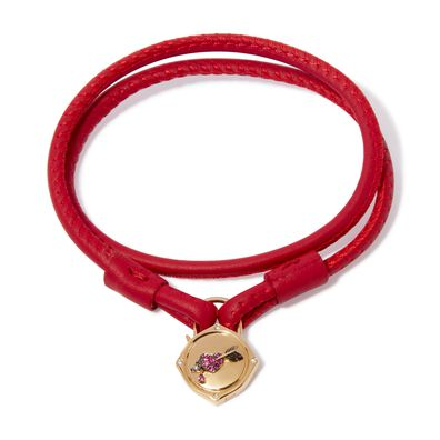 Lovelock 18ct Gold 35cms Red Leather Heart & Arrow Charm Bracelet