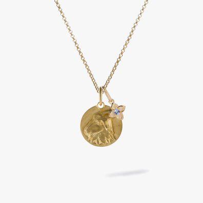 Gold Capricorn & Tanzanite December Birthstone Necklace