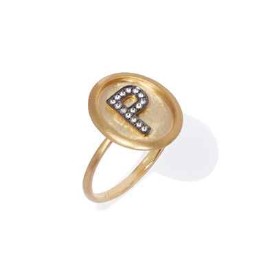 18ct Gold Diamond Initial P Ring