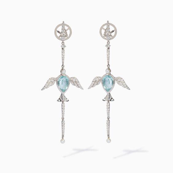 18ct White Gold Aquamarine Lovebirds Earrings | Annoushka jewelley