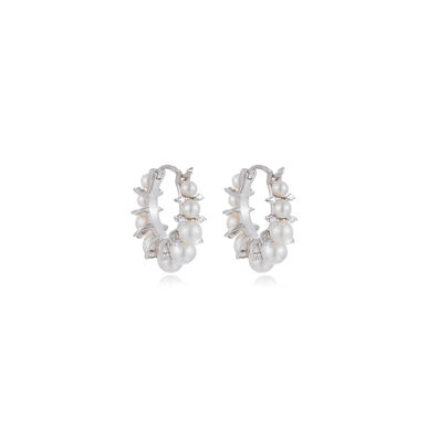 Diamonds & Pearls 18ct White Gold Hoops