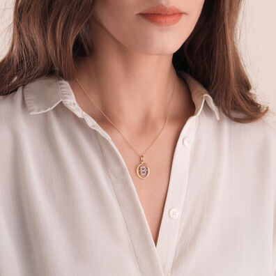 18ct Gold Diamond Initial B Necklace