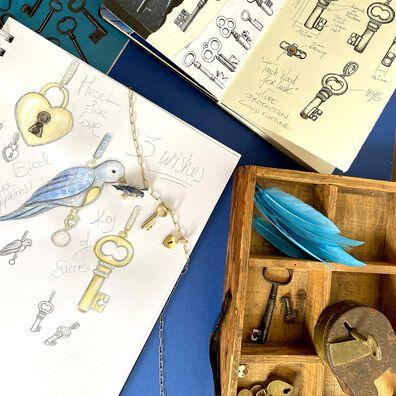 Mythology 18ct Gold Diamond Key Charm Necklace