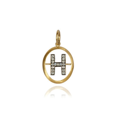 18ct Gold Diamond Initial H Pendant