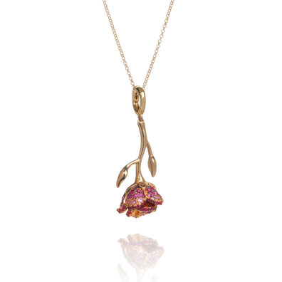 18ct Gold Ruby & Sapphire Wild Rose Necklace