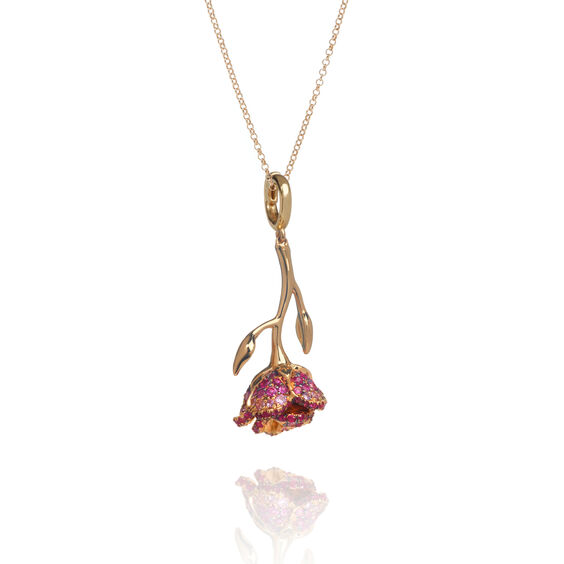 18ct Gold Ruby & Sapphire Wild Rose Necklace | Annoushka jewelley