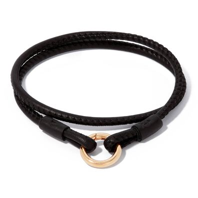 14ct Gold Lovelink 41cms Black Leather Bracelet