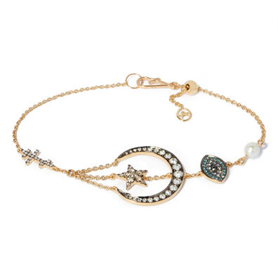 Love Diamonds 18ct Yellow Gold Diamond Lunar Bracelet